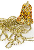 Golden Christmas decorations isolated on the white background Royalty Free Stock Photo