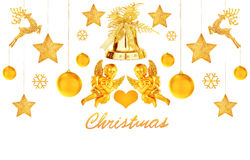 Golden Christmas decorations Stock Photos