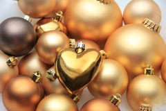 Golden Christmas decorations Stock Photos