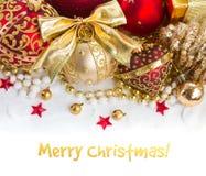 Golden christmas decorations royalty free stock photos