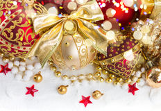 Golden christmas decorations Royalty Free Stock Images