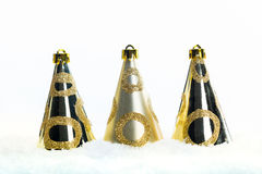 Golden Christmas decorations in snow, Xmas banner, christmas background Stock Photography