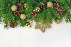 Golden Christmas decorations and spruce branch and cones on a wh. Ite background Stock Images