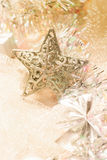 Golden christmas decorations Stock Photography