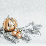 Golden Christmas decorations, text space Royalty Free Stock Images