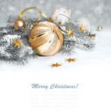 Golden Christmas decorations, text space Stock Photo
