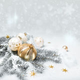 Golden Christmas decorations, text space Royalty Free Stock Photography