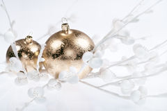 Golden Christmas decorations on white Stock Image