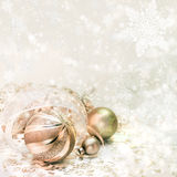 Golden Christmas decorations on winter background Royalty Free Stock Photography