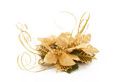 Golden christmas decorative flower on white Royalty Free Stock Photography