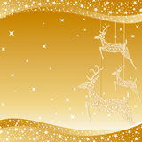 Golden Christmas deer greeting card Royalty Free Stock Images
