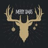 Golden christmas deer silhouette invert royalty free illustration
