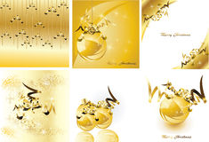 Golden christmas design set Royalty Free Stock Photography