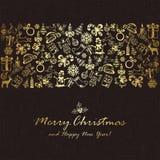 Golden Christmas elements on dark background Royalty Free Stock Image