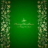 Golden Christmas elements on green background. Holiday decorations with Christmas icons, illustration Stock Photo