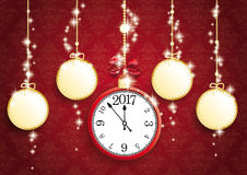 Golden Christmas 5 Empty Circles Clock 2017 Red Ornaments. Golden christmas baubles with clock and date 2017 on red background Stock Images