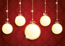 Golden Christmas 5 Empty Circles Red Ornaments Royalty Free Stock Image