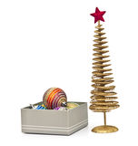 Golden christmas fir tree decoration and gifts Stock Image