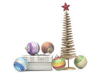 Golden christmas fir tree decoration and gifts Royalty Free Stock Photo