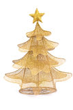 Golden christmas fir tree decoration on white background Stock Image