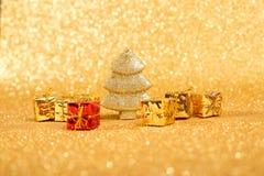 Golden christmas fir tree Royalty Free Stock Image
