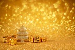 Golden christmas fir tree Stock Image