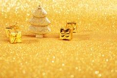 Golden christmas fir tree Stock Photo