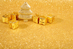Golden christmas fir tree Royalty Free Stock Images