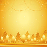 Golden christmas forest,vector. Golden christmas forest with garlands,vector illustration Stock Photos