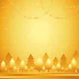 Golden christmas forest,vector stock illustration