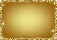 Golden Christmas Frame Stock Image