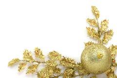 Golden Christmas frame. On white background Stock Images