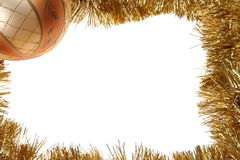 Golden Christmas frame with bauble Stock Photos