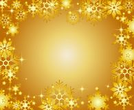 Golden Christmas frame with snowflakes Royalty Free Stock Image