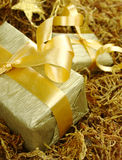 Golden Christmas Gift Stock Images