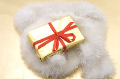 Golden christmas gift Royalty Free Stock Photography