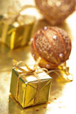 Golden christmas gift and decoration Stock Photography