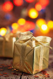 Golden christmas gift and decoration Royalty Free Stock Image