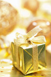 Golden christmas gift and decoration Stock Image