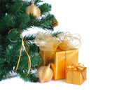 Golden Christmas gifts Royalty Free Stock Photo