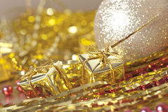 Golden  christmas gifts Stock Photo