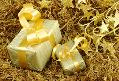 Golden Christmas Gifts on Moss Royalty Free Stock Photo