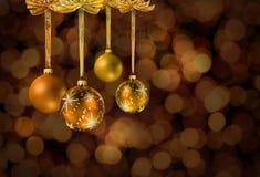 Golden Christmas glass balls royalty free stock photo