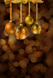 Golden Christmas glass balls Stock Photos