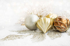 Golden Christmas Globes and Decoration Royalty Free Stock Photos