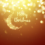 Golden Christmas greeting card light vector background. Merry Christmas holidays wish design and month decoration Stock Photography