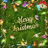 Golden Christmas greeting. EPS 10. Golden Christmas greeting with baubles on fir-tree branches. EPS 10 vector file included Stock Photography