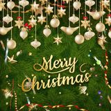 Golden Christmas greeting. EPS 10 Stock Images