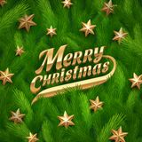 Golden Christmas greeting and stars Royalty Free Stock Image