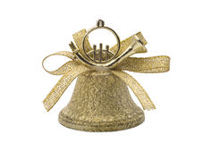 Golden christmas hand bell Stock Image